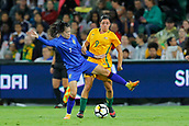 26th March 2018, nib Stadium, Perth, Australia; Womens International football friendly, Australia Women versus Thailand Women; Silawan Intamee of Thailand tries to shield the ball in front of Alex Chidiac of the Matildas during the first half