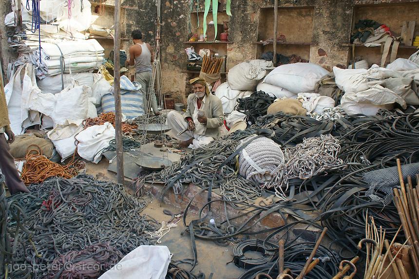 street seeler of rubber strings on camel fair in holy city Pushkar, Rajastan, India