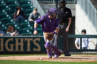 Furman Paladins catcher Logan Taplett (7) chases after the baseball as home plate umpire Jon Byrne looks on during the game against the Wake Forest Demon Deacons at BB&T BallPark on March 2, 2019 in Charlotte, North Carolina. The Demon Deacons defeated the Paladins 13-7. (Brian Westerholt/Four Seam Images)
