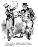 "The Best of Friends Must ""Part."" Jonathan. ""Stout fellow! Wish there were more like you."" John Bull. ""So do I."" (John Bull hands over a bag of Funding Agreement money to the USA while Britain has Debts Owed To Me and IOU papers stuffed in his pockets during the InterWar era)"