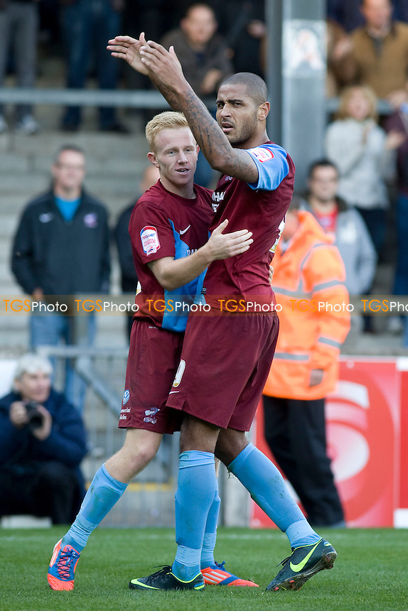 Leon Clarke (Scunthorpe Utd) rouses the crowd. - Scunthorpe United vs Brentford - NPower League One Football at Glanford Park - 13/10/12 - MANDATORY CREDIT: Mark Hodsman/TGSPHOTO - Self billing applies where appropriate - 0845 094 6026 - contact@tgsphoto.co.uk - NO UNPAID USE.