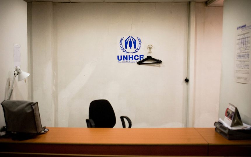 An interview booth sits unoccupied at a United Nations High Comissioner for Refugees (UNHCR) registration post on the outskirts of Damascus, Syria, November 19 2008. According to UNHCR, the post processed an average of 3000 new Iraqi refugees per month in 2008, down from a peak of 10 000 per month in late 2007. Photo: Ed Giles.