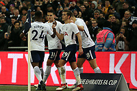 Erik Lamela of Tottenham Hotspur is congratulated after scoring the second goal during Tottenham Hotspur vs Newport County, Emirates FA Cup Football at Wembley Stadium on 7th February 2018