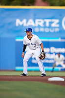 Dunedin Blue Jays shortstop Kevin Smith (10) during a game against the Tampa Tarpons on June 2, 2018 at Dunedin Stadium in Dunedin, Florida.  Dunedin defeated Tampa 4-0.  (Mike Janes/Four Seam Images)