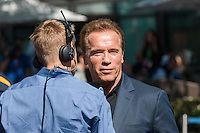 March 20, 2016: Arnold Schwarzenegger gives an interview before the start of the 2016 Australian Formula One Grand Prix at Albert Park, Melbourne, Australia. Photo Sydney Low