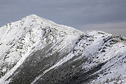 Mount Lincoln from along the Appalachian Trail, on Little Haystack Mountain, in the White Mountains of New Hampshire during the winter months.
