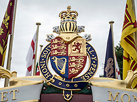 Henley Royal Regatta, Henley on Thames, Oxfordshire, 28 June - 2 July 2017.  Wednesday  11:57:00   28/06/2017  [Mandatory Credit/Intersport Images]<br /> <br /> Rowing, Henley Reach, Henley Royal Regatta.<br /> Details from The Royal Row Barge GLORIANA