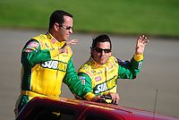 Aug 31, 2008; Fontana, CA, USA; NASCAR Sprint Cup Series driver Tony Stewart (right) with Subway spokesman Jared Fogle during the Pepsi 500 at Auto Club Speedway. Mandatory Credit: Mark J. Rebilas-