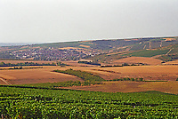A view over the vineyards and village of St Bris le Vineux, northern Bourgogne