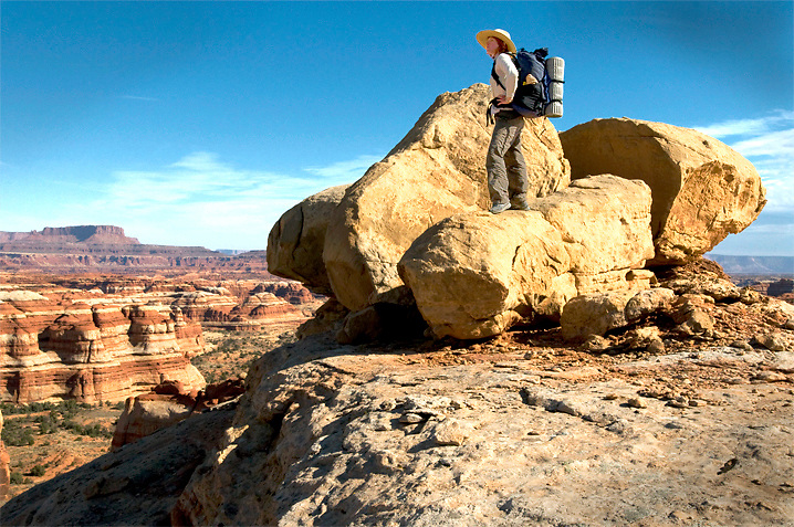 Self Portrait on some boulders above Shot Canyon, in the Maze District of Canyonlands N.P., Utah