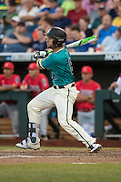 Tyler Chadwick #8 of the Coastal Carolina Chanticleers bats during a College World Series Finals game between the Coastal Carolina Chanticleers and Arizona Wildcats at TD Ameritrade Park on June 27, 2016 in Omaha, Nebraska. (Brace Hemmelgarn/Four Seam Images)