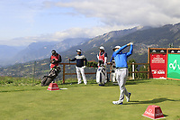 Lucas Bjerregaard (DEN) tees off the 7th tee during Thursday's Round 1 of the 2017 Omega European Masters held at Golf Club Crans-Sur-Sierre, Crans Montana, Switzerland. 7th September 2017.<br /> Picture: Eoin Clarke | Golffile<br /> <br /> <br /> All photos usage must carry mandatory copyright credit (&copy; Golffile | Eoin Clarke)