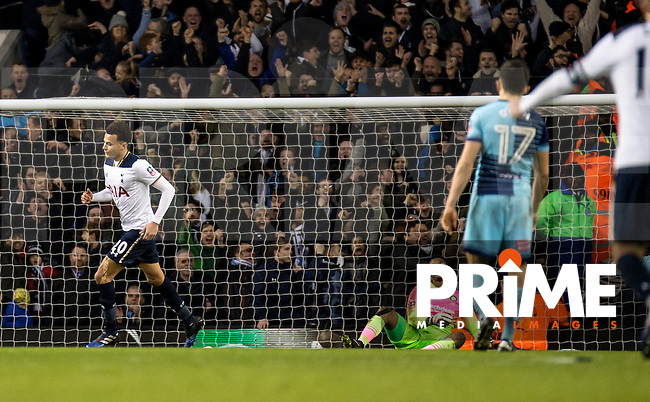 Dele Alli of Tottenham Hotspur celebrates after scoring the 3rd goal for Spurs during the FA Cup 4th round match between Tottenham Hotspur and Wycombe Wanderers at White Hart Lane, London, England on the 28th January 2017. Photo by Liam McAvoy.