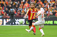 20191102 – Lens , France : Guillaume Gillet (27) of Lens pictured in a duel with Jonathan Delaplace (22) of Lorient during a French Ligue 2 soccer game between Racing Club de Lens and FC Lorient , a football game on the 13th matchday in the French second league, on saturday 2 nd of November 2019 at the Stade Bollaert Delelis in Lens , France . PHOTO SPORTPIX.BE   DAVID CATRY