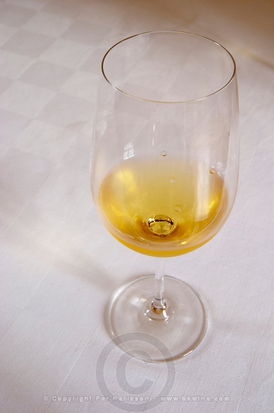 Wine glasses. Chateau Nairac, Barsac, Sauternes, Bordeaux, France