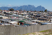 South Africa, Cape Town, Khayelitsha Township.  Table Mountain in Background.