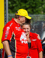 May 15, 2016; Commerce, GA, USA; NHRA crew chief Jim Oberhofer (left) and daughter Ashley Oberhofer celebrates after winning the Southern Nationals at Atlanta Dragway. Mandatory Credit: Mark J. Rebilas-USA TODAY Sports