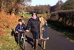 ARM4ED Family country walk down a quiet lane Butley Suffolk England