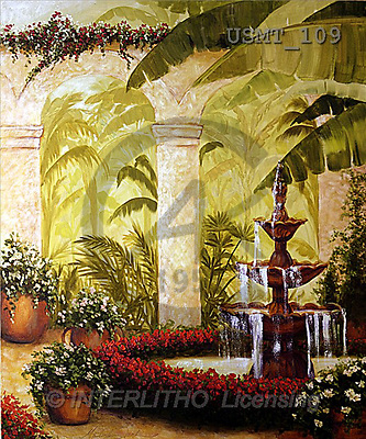 Malenda, LANDSCAPES, paintings, Palm Garden2(USMT109,#L#) Landschaften, Schiffe, paisajes, barcos, llustrations, pinturas