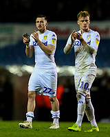 Leeds United's Jack Harrison and Ezgjan&nbsp;Alioski applaud the fans after the match<br /> <br /> Photographer Alex Dodd/CameraSport<br /> <br /> The EFL Sky Bet Championship -  Leeds United v Derby County - Friday 11th January 2019 - Elland Road - Leeds<br /> <br /> World Copyright &copy; 2019 CameraSport. All rights reserved. 43 Linden Ave. Countesthorpe. Leicester. England. LE8 5PG - Tel: +44 (0) 116 277 4147 - admin@camerasport.com - www.camerasport.com