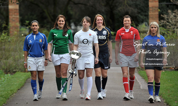 (L-R) Sara Barattin of Italy, Fiona Coughlan of Ireland, Katie McLean of England, Susie Brown of Scotland, Rachel Taylor of Wales and Nathalie Amiel of France. RBS 6 Nations Rugby Launch. The Hurlingham Club. London. 25/01/2012. MANDATORY Credit Garry Bowden/Sportinpictures - NO UNAUTHORISED USE - 07837 394578
