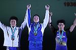 L-R) <br /> Masakazu Ioroi, <br /> Masanori Miyamoto, <br /> Takehiro Kasai, <br /> MAY 21, 2016 - Weightlifting : <br /> All Japan Weightlifting Championship 2016 Men's -69kg <br /> Award Ceremony at Yamanashi Municipal Gymnasium, Yamanashi, Japan. <br /> (Photo by AFLO SPORT)