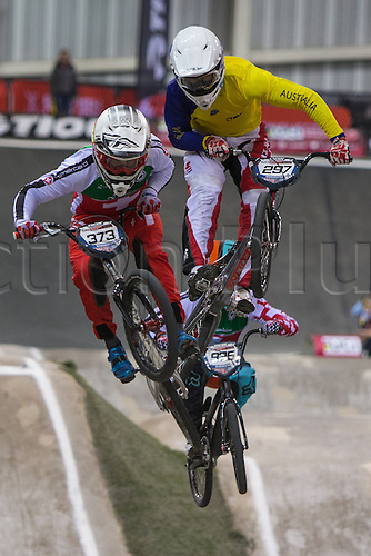 09.04.2016. National Cycling Centre, Manchester, England. UCI BMX Supercross World Cup day 1. Renaud Blanc and Kai Sakakibara battle in the air.