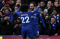 Gonzalo Higuain celebrates scoring Chelsea's opening goal with Willian during Chelsea vs Huddersfield Town, Premier League Football at Stamford Bridge on 2nd February 2019