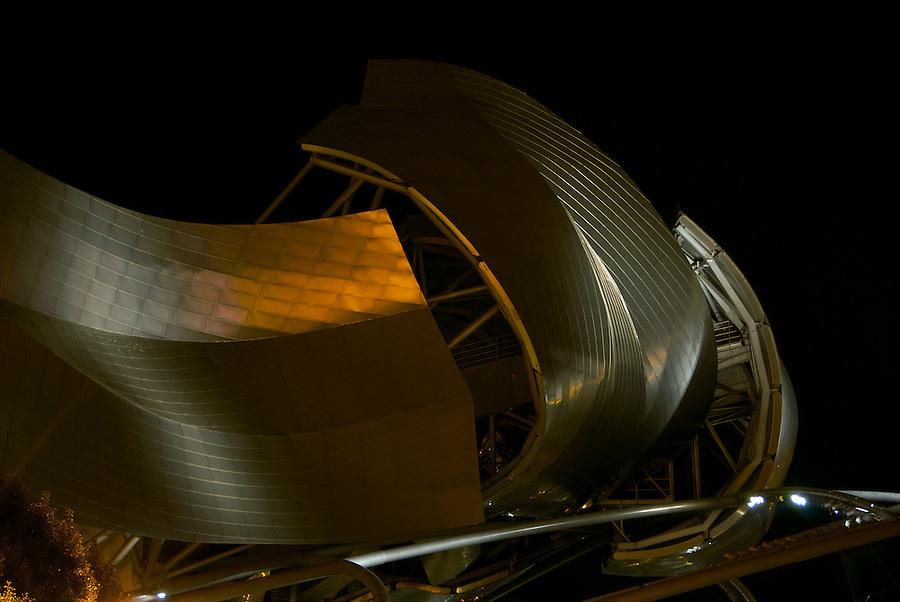 Jay Pritzker Pavilion Roof Detail at Night in Chicago Millennium Park.