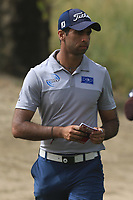 Aaron Rai (ENG) on the 3rd during Round 1 of the Omega Dubai Desert Classic, Emirates Golf Club, Dubai,  United Arab Emirates. 24/01/2019<br /> Picture: Golffile | Thos Caffrey<br /> <br /> <br /> All photo usage must carry mandatory copyright credit (&copy; Golffile | Thos Caffrey)
