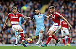 Adam Clayton and Calum Chambers of Middlesbrough keep out Sergio Aguero of Manchester City during the Premier League match at the Etihad Stadium, Manchester. Picture date: November 5th, 2016. Pic Simon Bellis/Sportimage