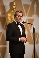 Gary Oldman backstage after winning the Oscar&reg; for performance by an actor in a leading role for work on &ldquo;Darkest Hour&rdquo; during the live ABC Telecast of The 90th Oscars&reg; at the Dolby&reg; Theatre in Hollywood, CA on Sunday, March 4, 2018.<br /> *Editorial Use Only*<br /> CAP/PLF/AMPAS<br /> Supplied by Capital Pictures