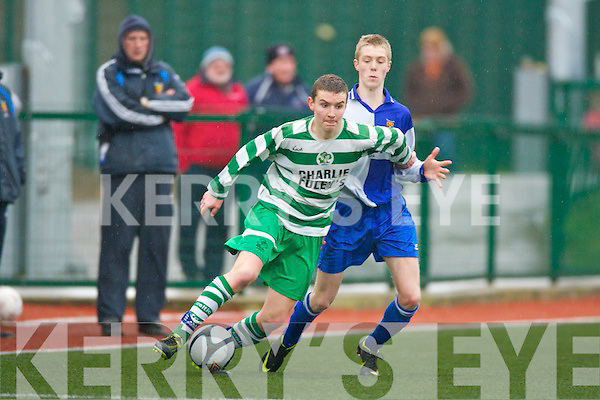 Matt Keane Killarney Celtic shows some nice close control to keep the ball away from College Corithtians James Nagle during their FAI cup clash in Killarney on Saturday