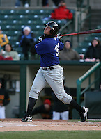 2007:  Terry Tiffee of the Norfolk Tides at bat vs the Rochester Red Wings in International League baseball action.  Photo by Mike Janes/Four Seam Images