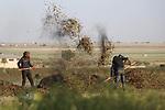 Syrian workers harvest wheat at a field in Azaz city, north of Aleppo, Syria, on May 12, 2020. Photo by Nayef AL-aboud
