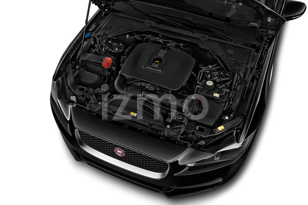 Car stock 2018 Jaguar XE Base 4 Door Sedan engine high angle detail view