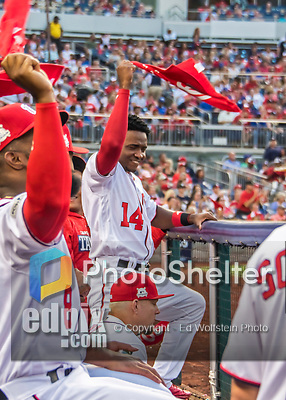7 October 2017: Washington Nationals outfielder Victor Robles gets into the fan-led spirit, waving red in the dugout during the second NLDS game against the Chicago Cubs at Nationals Park in Washington, DC. The Nationals defeated the Cubs 6-3 and even their best of five Postseason series at one game apiece. Mandatory Credit: Ed Wolfstein Photo *** RAW (NEF) Image File Available ***