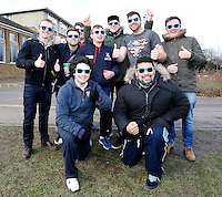 Fans sport a new line in eye-wear during the BUCS Premier South game between St Mary's and Oxford at St Mary's University, Twickenham on Wed Feb 4, 2015