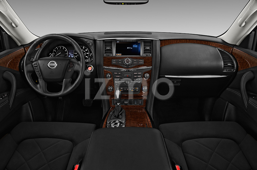 Stock photo of straight dashboard view of 2018 Nissan Armada SV 5 Door SUV