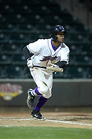 Luis Alexander Basabe (16) of the Winston-Salem Dash starts down the first base line during the game against the Salem Red Sox at BB&T Ballpark on April 20, 2018 in Winston-Salem, North Carolina.  The Red Sox defeated the Dash 10-3.  (Brian Westerholt/Four Seam Images)