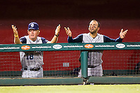 Manager Tom Lawless (18) and Brian Esposito (41) of the Corpus Christi Hooks argue a call during a game against the Springfield Cardinals at Hammons Field on August 13, 2011 in Springfield, Missouri. Springfield defeated Corpus Christi 8-7. (David Welker / Four Seam Images)