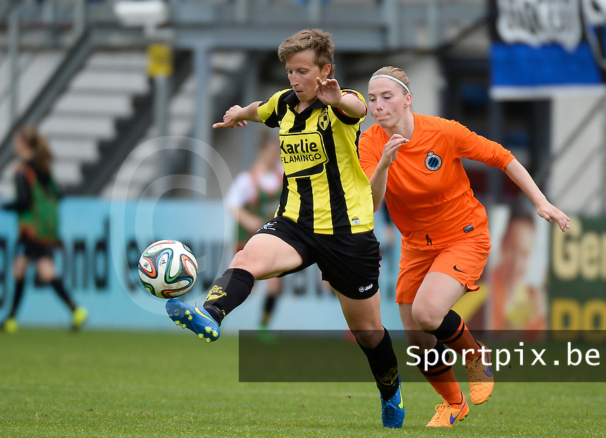20150514 - BEVEREN , BELGIUM : Lierse's Niki Decock (left) pictured with Brugge's Jana Coryn (r) during the final of Belgian cup, a soccer women game between SK Lierse Dames and Club Brugge Vrouwen , in stadion Freethiel Beveren , Thursday 14 th May 2015 . PHOTO DAVID CATRY