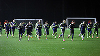 Swansea players warming up
