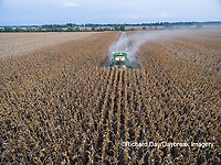 63801-08504 Corn Harvest, John Deere combine harvesting corn - aerial Marion Co. IL