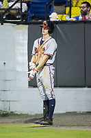 Drew Waters (12) of the Danville Braves waits for his turn to bat during the game against the Burlington Royals at Burlington Athletic Stadium on August 12, 2017 in Burlington, North Carolina.  The Braves defeated the Royals 5-3.  (Brian Westerholt/Four Seam Images)