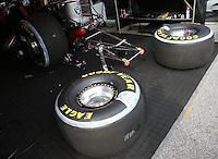 May 17, 2015; Commerce, GA, USA; Detailed view of a pair of Goodyear Racing rear tires for an NHRA funny car during the Southern Nationals at Atlanta Dragway. Mandatory Credit: Mark J. Rebilas-USA TODAY Sports