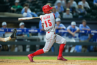 Josh McLain (15) of the North Carolina State Wolfpack follows through on a solo home run against the North Carolina Tar Heels in Game Twelve of the 2017 ACC Baseball Championship at Louisville Slugger Field on May 26, 2017 in Louisville, Kentucky.  The Tar Heels defeated the Wolfpack 12-4 to advance to the semi-finals.  (Brian Westerholt/Four Seam Images)