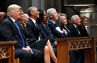 From left, President Donald Trump, first lady Melania Trump, former President Barack Obama, former first lady Michelle Obama, former President Bill Clinton, former Secretary of State Hillary Clinton, and former President Jimmy Carter and former first lady Rosalynn Carter participate in the State Funeral for former President George H.W. Bush, at the National Cathedral, Wednesday, Dec. 5, 2018 in Washington. <br /> CAP/MPI/RS<br /> &copy;RS/MPI/Capital Pictures