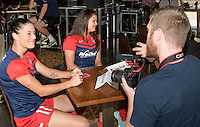 Houston, TX - Thursday Oct. 06, 2016: Ali Krieger, Katie Stengel during media day prior to the National Women's Soccer League (NWSL) Championship match between the Washington Spirit and the Western New York Flash at BBVA Compass Stadium.