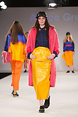Collection by Aimee Green from UCLAN, University of Central Lancashire. Graduate Fashion Week 2014, Runway Show at the Old Truman Brewery in London, United Kingdom. Photo credit: Bettina Strenske